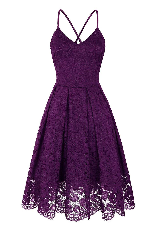 Purple Lace Floral V Neck Backless Cocktail A Line Dress Cocktail Dress Lace Purple Summer Dress Purple Midi Dress [ 1500 x 1001 Pixel ]