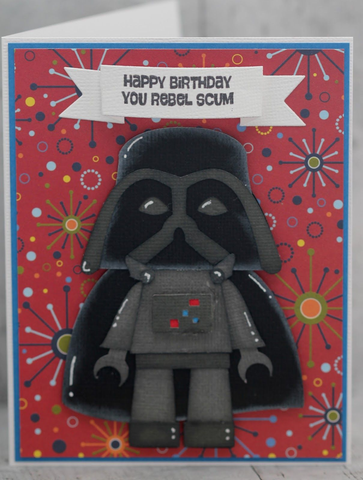 My Grandson Jackson Just Turned 7 And He Is So Into Star Wars So I Thought This Was The Perfect Star Wars Cards Star Wars Christmas Cards Kids Birthday Cards