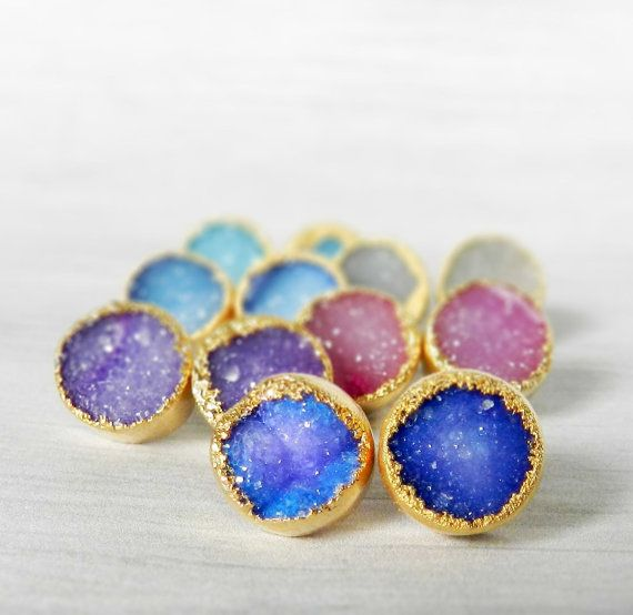 agate stud druzy pairs natural plated color earrings item stone gem titanium wholesale round gold drusy