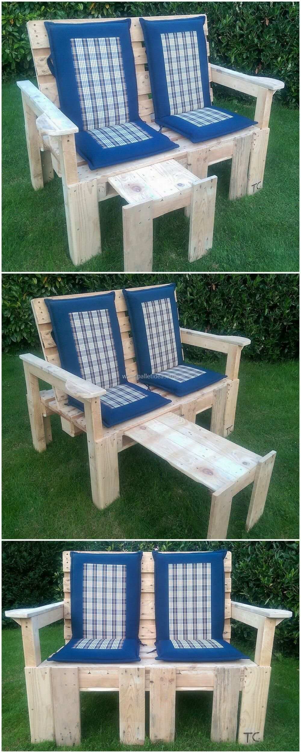 outdoor pallet wood. Pallets Bench With Adjustable Foot Stool And Backrest Outdoor Pallet Wood