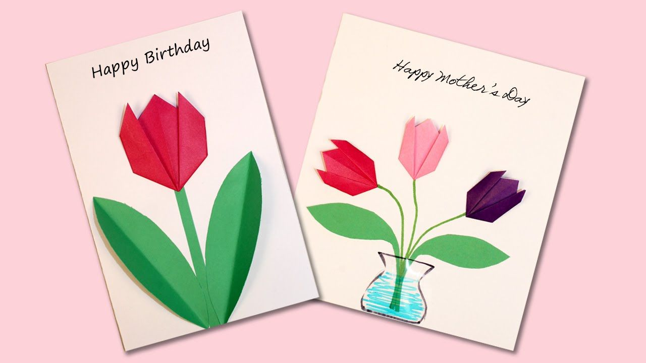 Easy Origami Flower Cards With Images Origami Birthday Card