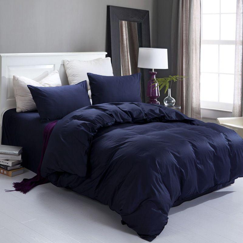 Colors Added To Dark Blue Bedroom Comforter Cotton Plain Solid Color Double Piece Bedding Set Elegant Dark Navy Blue Bedding Sets Bed Sheets Bed Sheet Sets