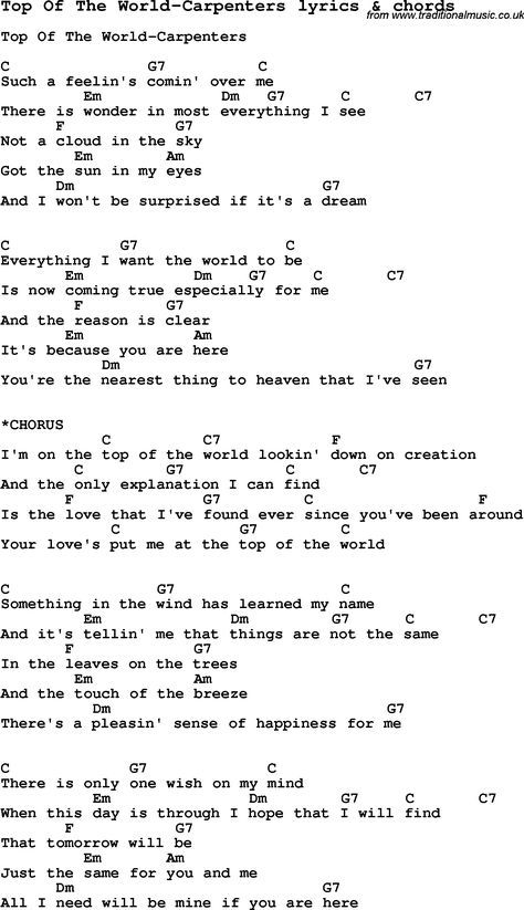 Love Song Lyrics For Top Of The World Carpenters With Chords For