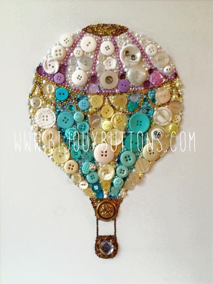 Hot Air Balloon, Bijoux Buttons, nursery gift, button art