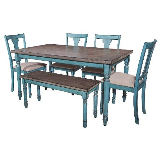 Willow 6 Piece Dining Set   Powell Willow 6 Piece Dining Set Powell A  Beautiful And Calming Blue Finish