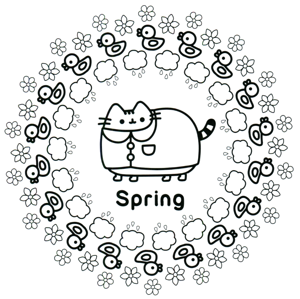 Coloring Rocks Pusheen Coloring Pages Spring Coloring Pages Cat Coloring Page