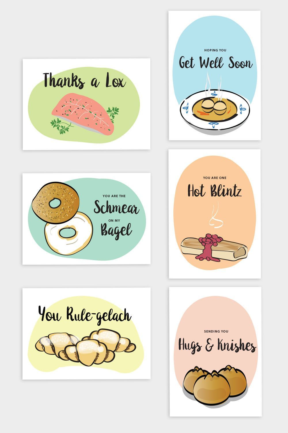 Jewish Noshery Greeting Cards Set Of 6 Pinterest Products