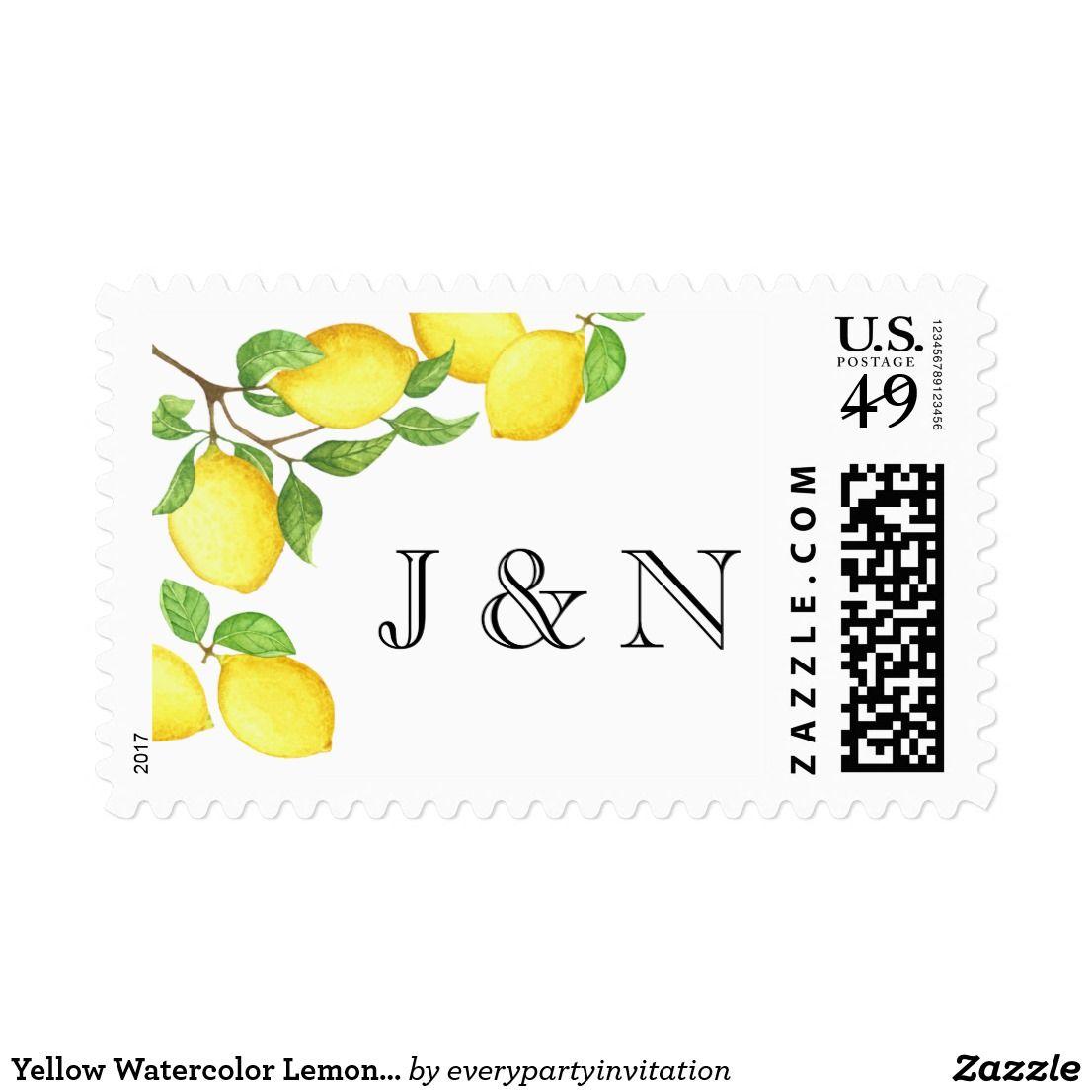 Yellow Watercolor Lemon Custom Postage Stamp | Spring & Summer ...