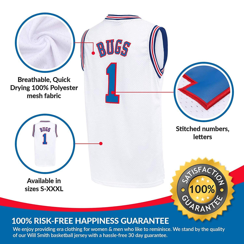 AFLGO Bugs Space Jam Jersey Basketball Jersey Include Set GLOW IN THE DARK Wristbands S-XXL Black