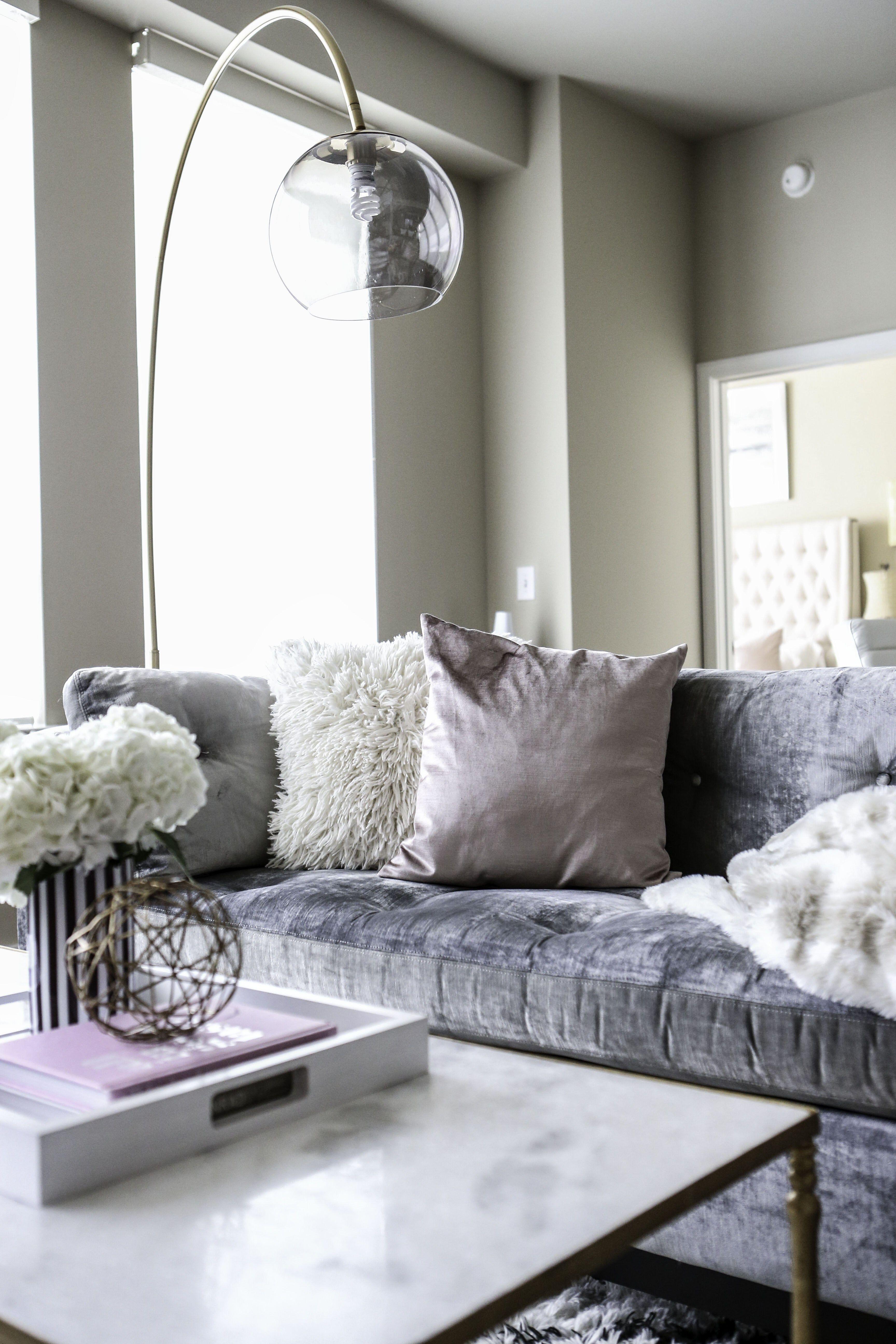 Overarching Lamp Velvet Sofa Living Room Living Decor Lamps