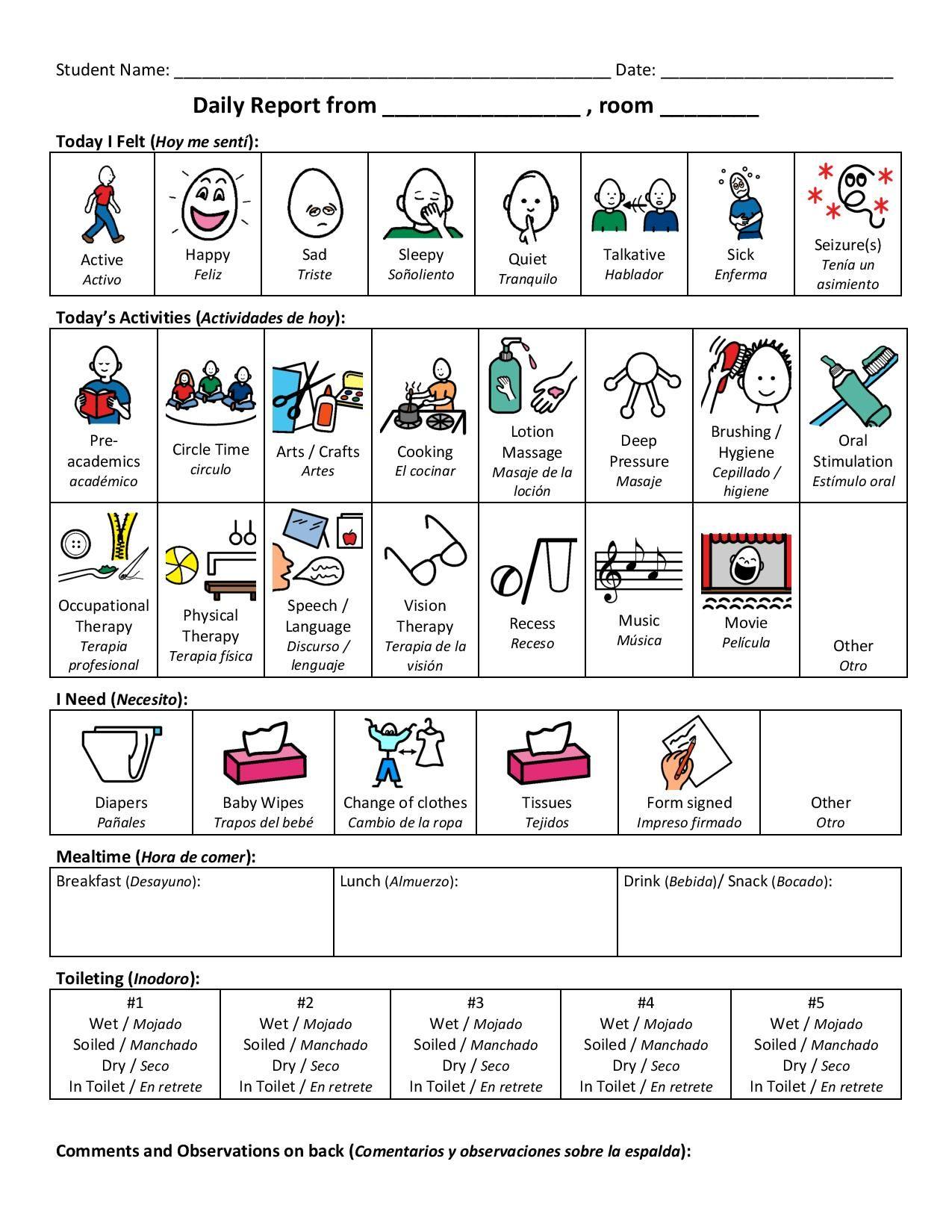 Daily Report With Pecs Pdf Google Drive Classroom Communication Parent Teacher Communication Parents As Teachers