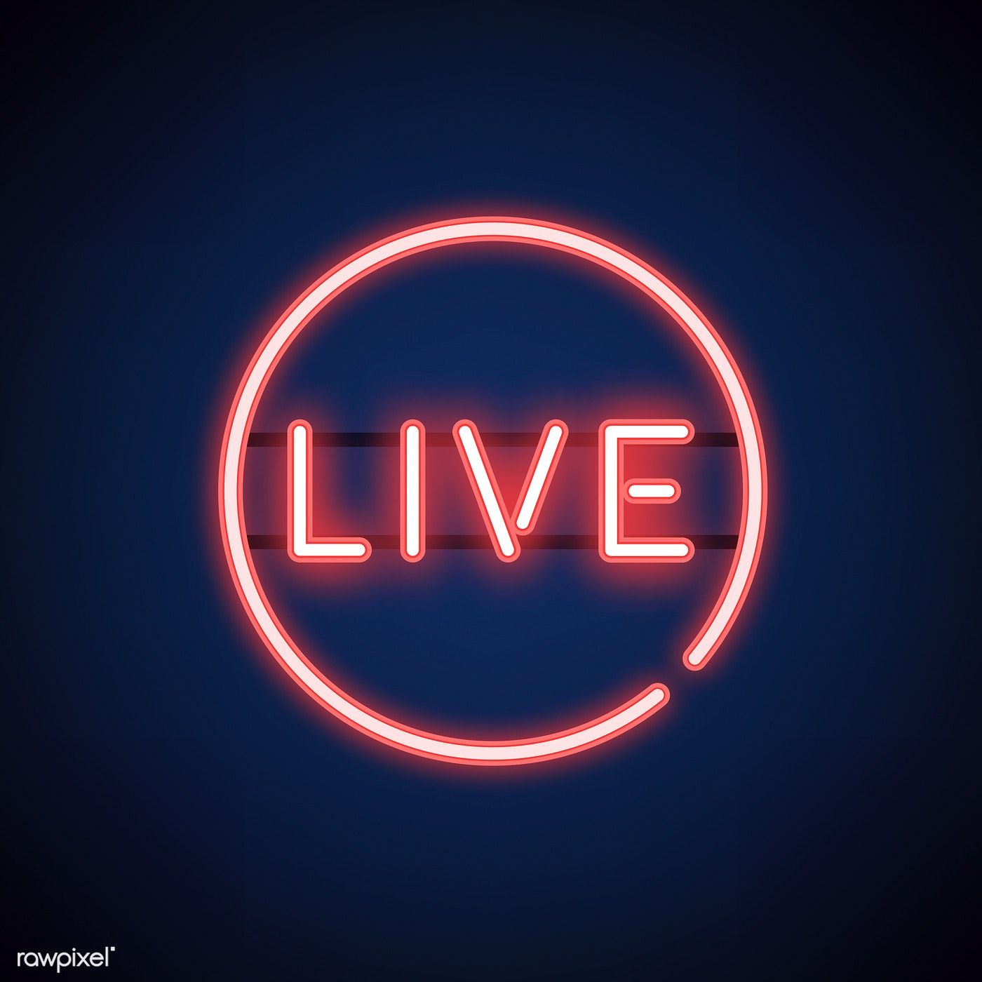 Red live neon sign vector free image by