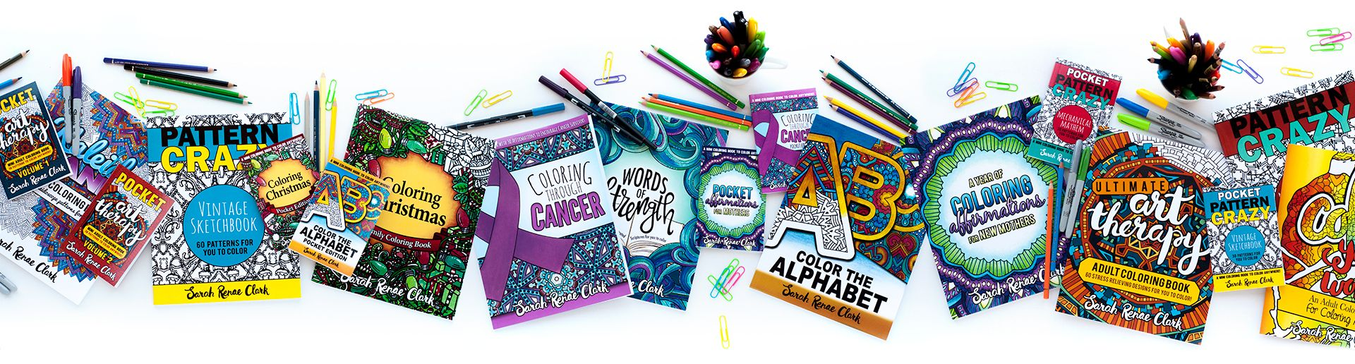 Check out the range of Adult Coloring Books by Sarah Renae Clark