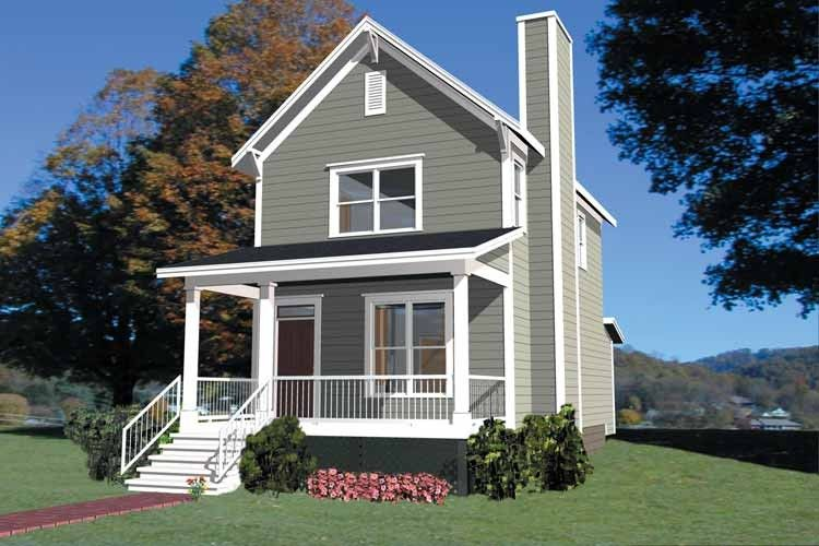 Colonial Style House Plan 2 Beds 2 5 Baths 1042 Sq Ft Plan 79 133 Narrow Lot House Plans Colonial House Plans Country Style House Plans