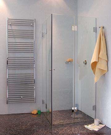 Duschfaltwand mit 2 Türen über Eck, Klarglas, Chrom, H