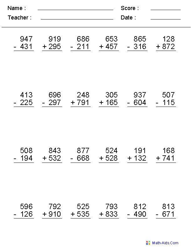 Addition Subtraction Worksheets Subtraction Worksheets Addition And Subtraction Worksheets Math Subtraction