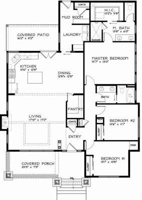 Plano y fachada de casa habitaci n de una planta o nivel for Proyecto casa habitacion minimalista