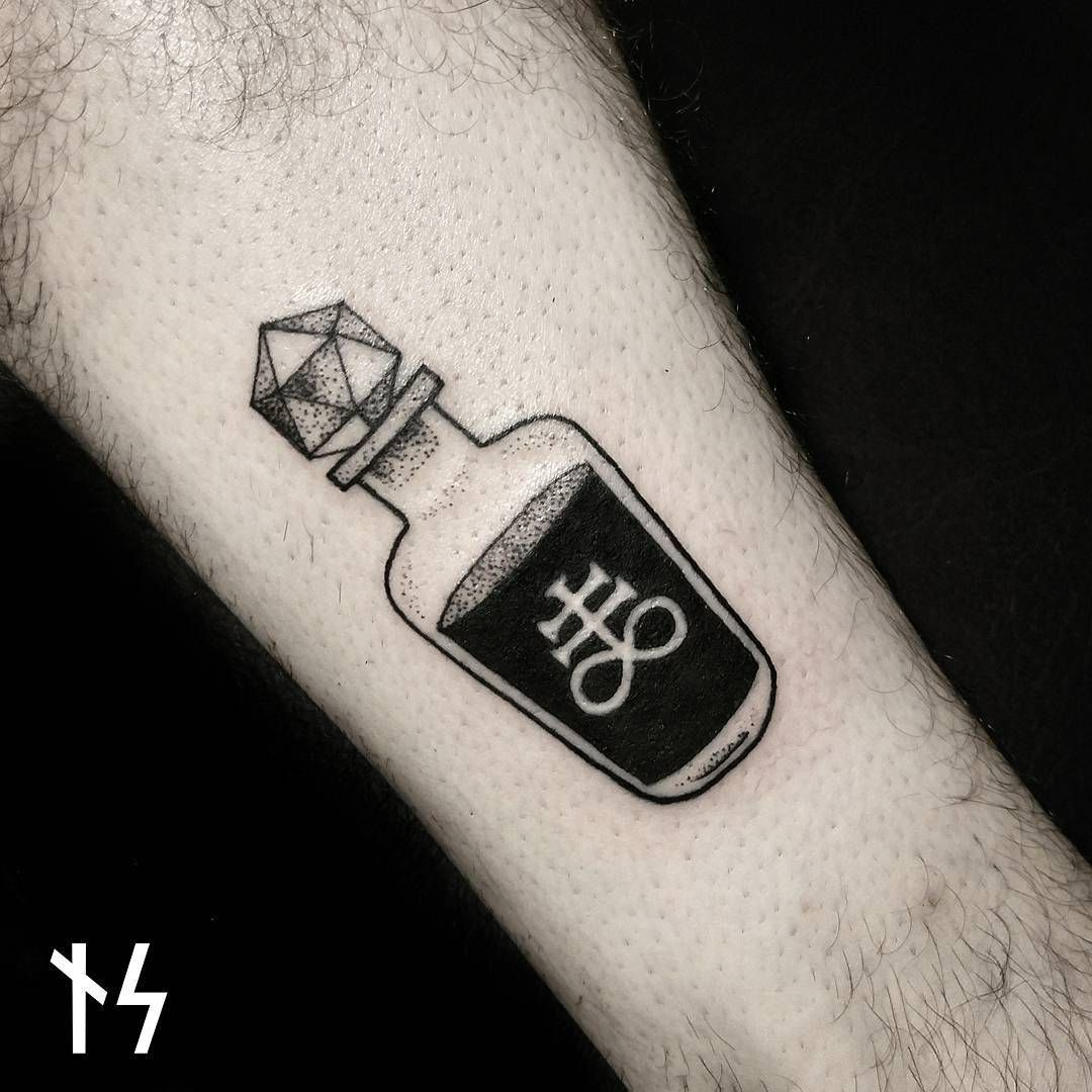 Small Bottle Tattoo: Poison Bottle, Sickly Green Instead Of Black With A Little