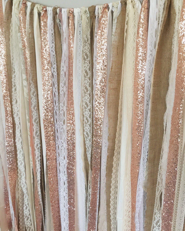 6f113eb25b00 Rose Gold Sequin Garland Backdrop - Rustic Chic Wedding