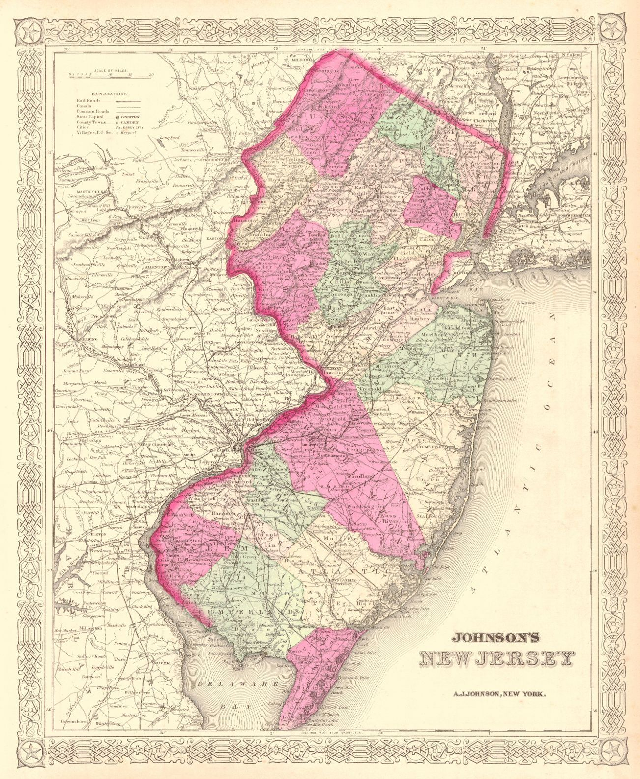 New York State Map With Counties And Cities.Map Antique Johnson S New Jersey A J Johnson 1866 New York