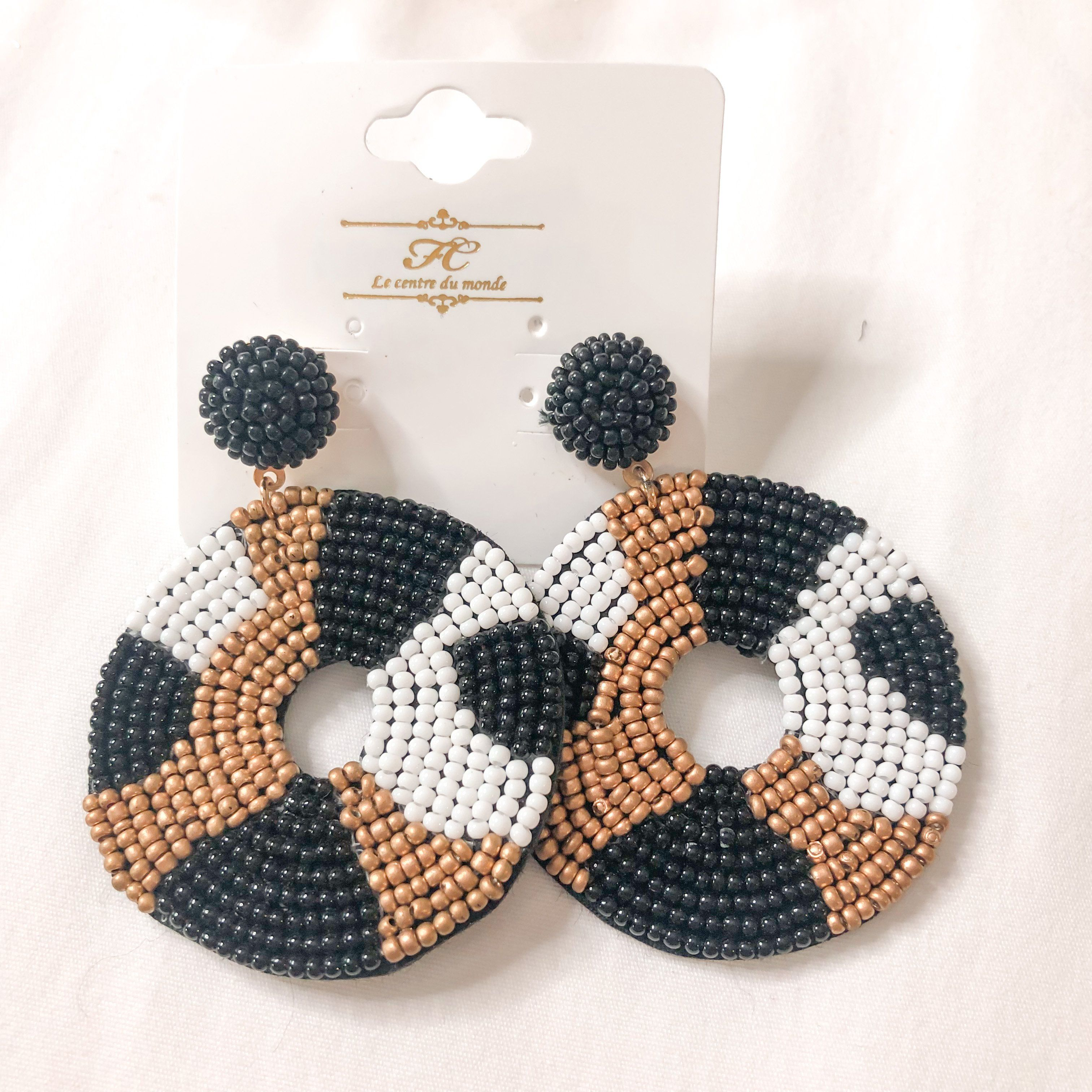 Black and Gold Seed Bead Earrings