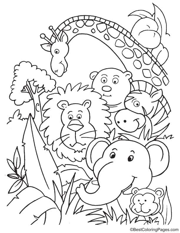 Party In Jungle Coloring Page Jungle Coloring Pages Animal Coloring Pages Kindergarten Coloring Pages