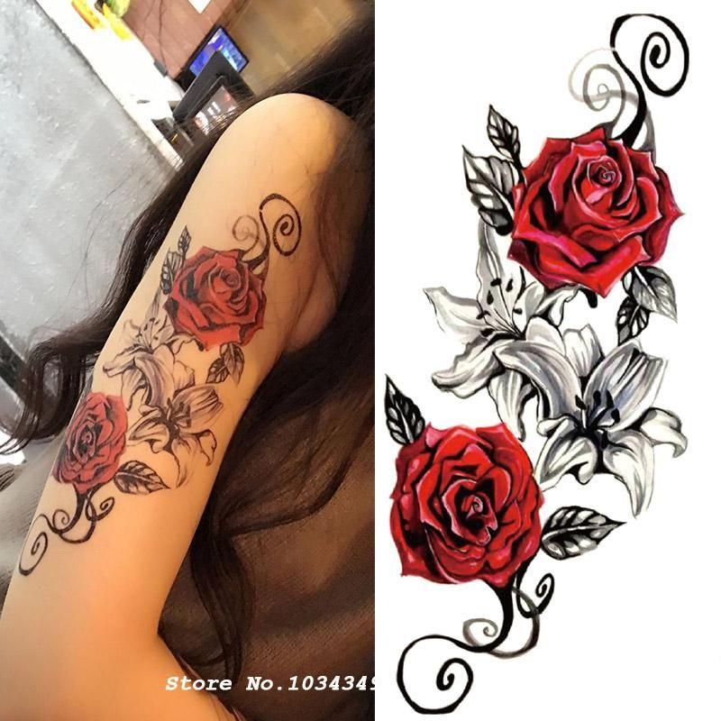1pcs Watercolor Flower Temporary Body Tattoo Body Art Pinterest
