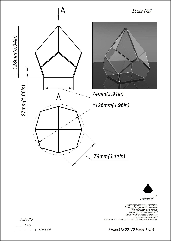 Small Geometric Terrarium Printable Pattern Glass Box