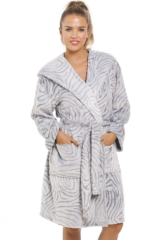 Grey Supersoft Fleece Zebra Print Hooded Bathrobe  16829ae9c