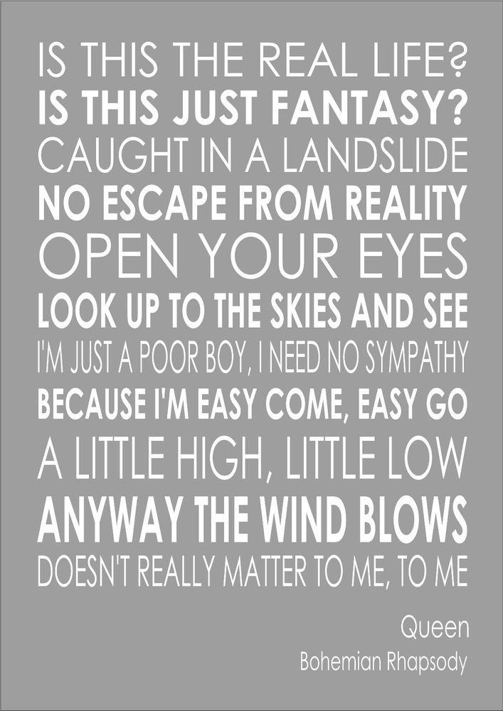 Bohemian Rhapsody Queen Word Wall Art Typography Words Print Lyric
