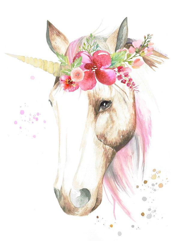 Watercolour Unicorn With Flower Crown Print Dessin Licorne