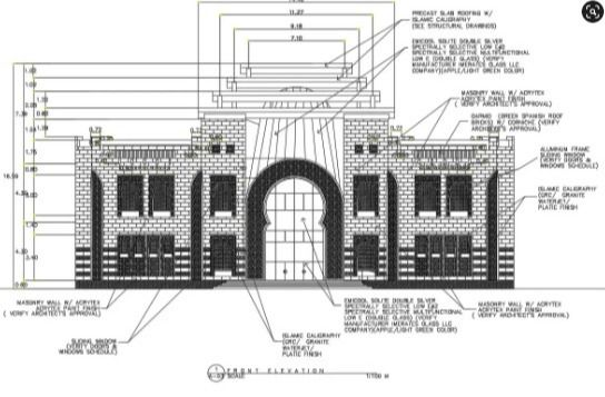 Front elevation of a mosque detail specified in this drawing