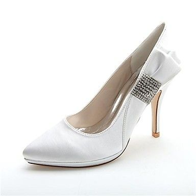 Women's Shoes Satin Spring Summer Stiletto Heel for Wedding Party & Evening  White Pink Silver Blue Purple