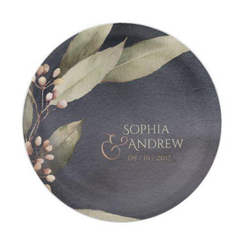 Dark botanical greenery vintage rustic wedding paper plate ...