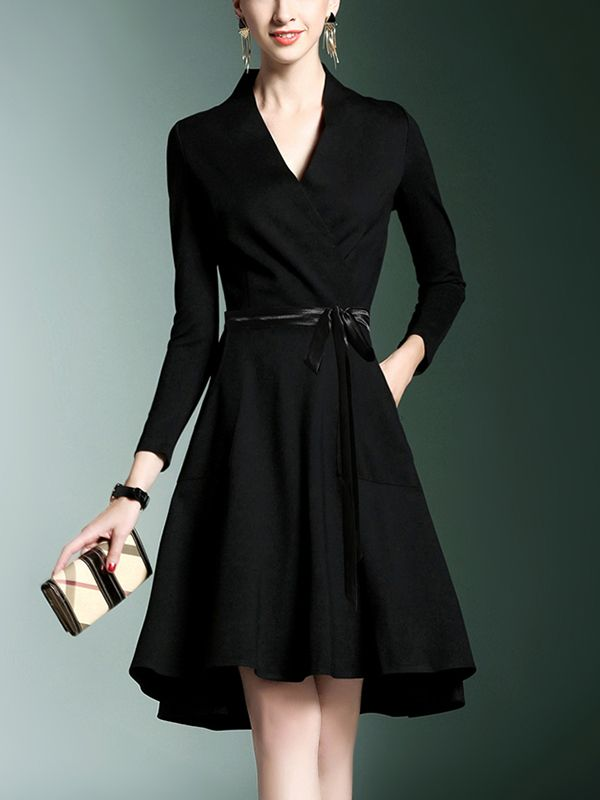 Black Tie Waist Wrap Mini Dress Clothes For Women Maxi Dress With Sleeves Short Dresses