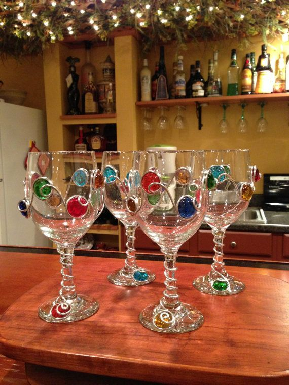 Ideas For DIY Decorative Wine Glasses   Decozilla & Ideas For DIY Decorative Wine Glasses   Pinterest   Glass Beads and ...