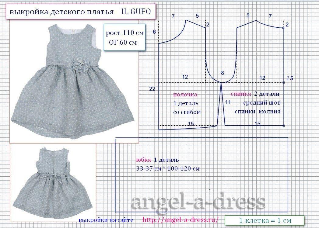 110 размер выкройка платья для девочки Il Gufo одежа