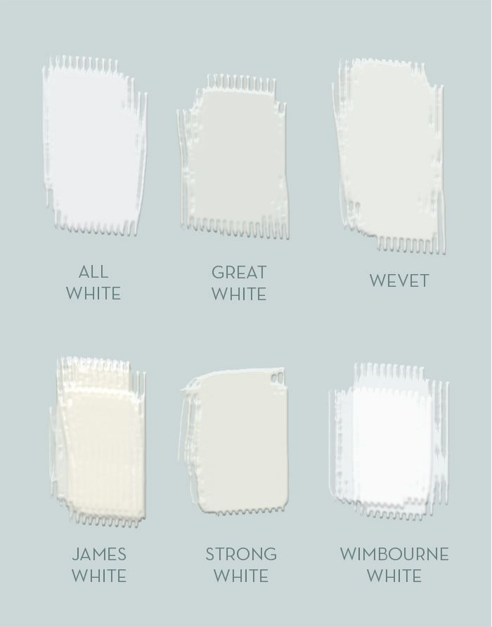 A Sampling Of Shades White Available From Farrow Ball All Great Wevet James Strong Wimbourne