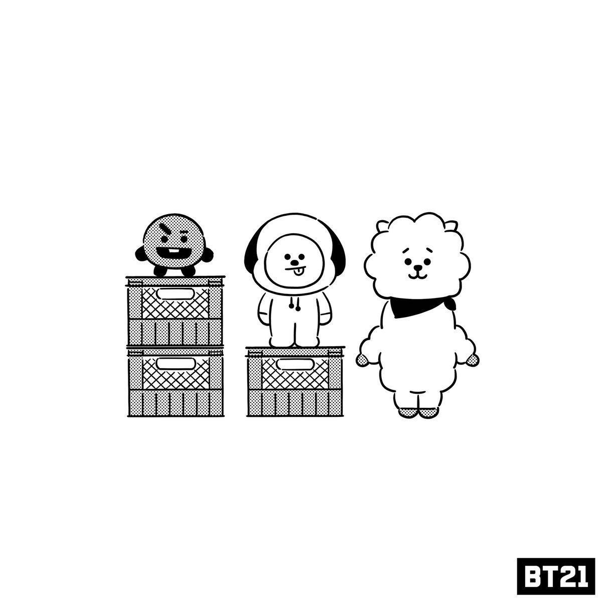 Bt21 Tren Twitter Who S The Tallest Coloring Books Coloring Pages Cute Coloring Pages