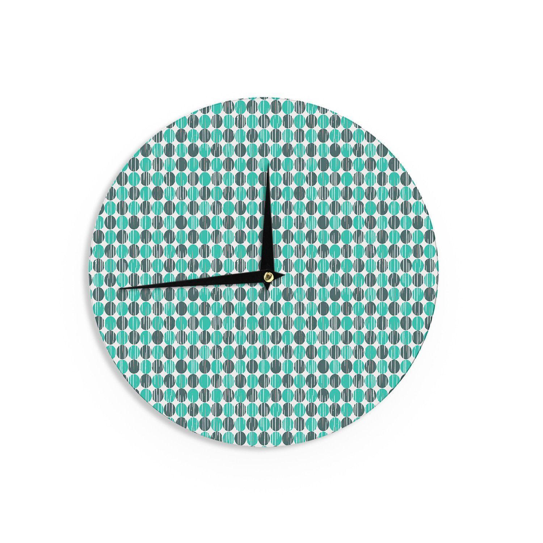 Michelle Drew Distressed Circles Teal Aqua Wall Clock