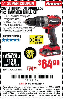 Bauer 20v Hypermax Lithium 1 2 In Hammer Drill Kit For 64 99 In 2020 Hammer Drill Harbor Freight Tools Drill