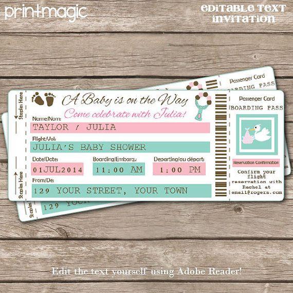 Airline Ticket Baby Shower Invitation - Airline Ticket Invitation