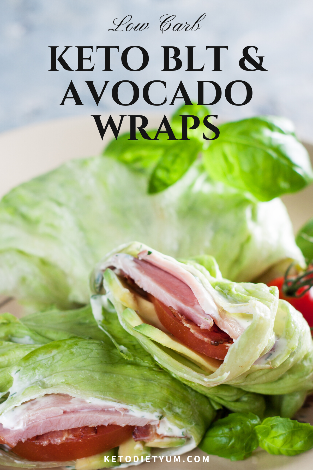 Keto Bacon Lettuce Tomato and Avocado Wraps (6g Net Carbs)