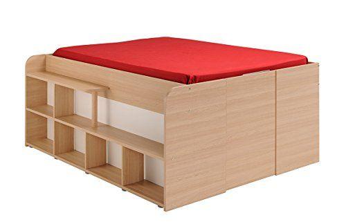 Parisot 1531lico Bett Space Up Eiche Baltimore Weiss Holz