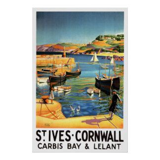St. Ives - Cornwall England ~ Vintage UK Travel Posters