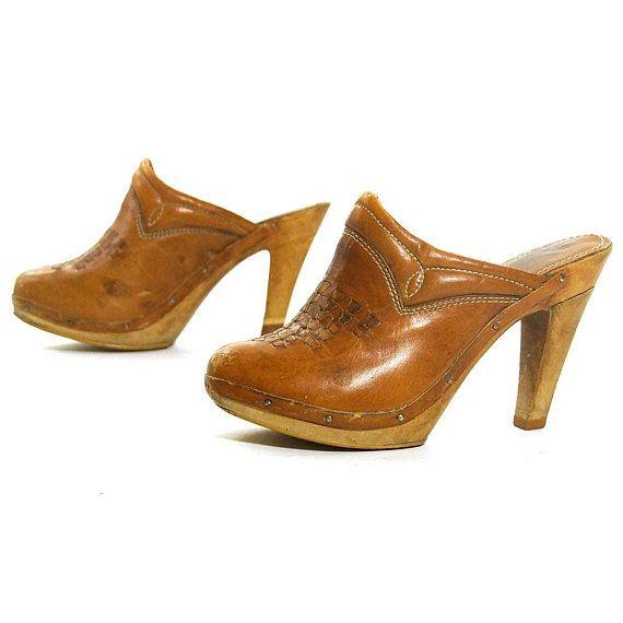 e76381708678c 70s Platforms Vintage Brown Leather Slip On Mules Hippie Boho High ...