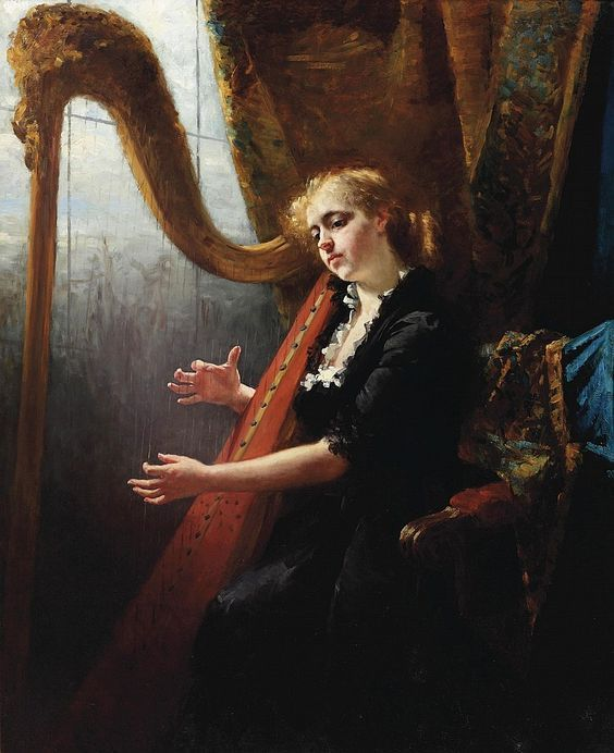 Therese Schwartze (Dutch, 1851-1918). Playing the harp.