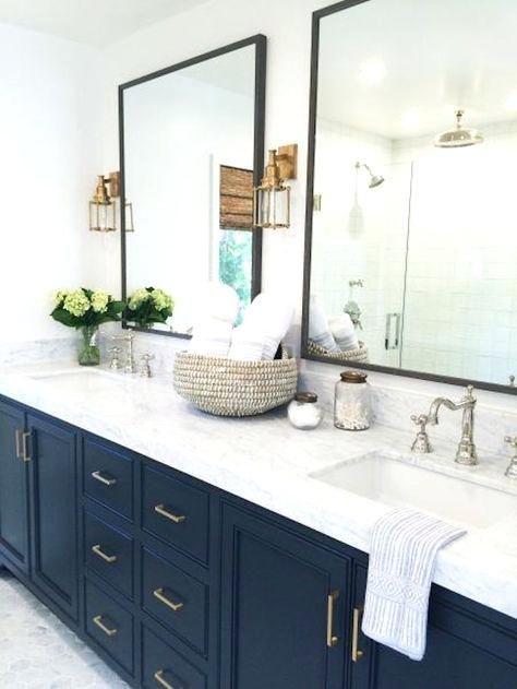 Navy Bathroom Vanity Whats Trending Bathroom Trends To Watch For In Studio M Interior Design Bathroom Remodel Master Farmhouse Master Bathroom Bathroom Trends