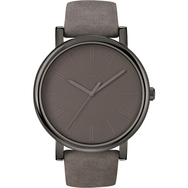 Timex Originals Modern Gray Leather Strap Watch T2N795AB (€47) ❤ liked on Polyvore featuring jewelry, watches, accessories, grey jewelry, timex wrist watch, leather wrist watch, leather watches and leather jewelry