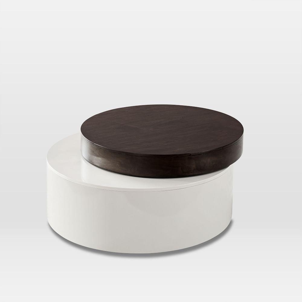 Stacked Disk Storage Coffee Table Dark Mineral Salt Coffee